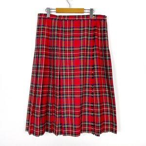 St. Michael Red Plaid Midi Wrap Skirt